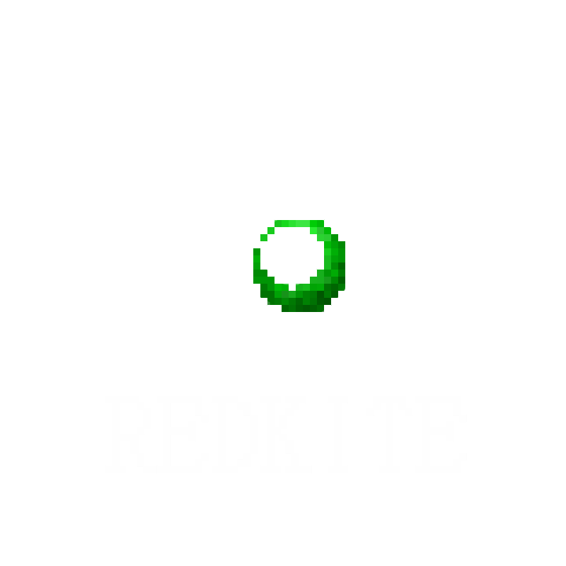 ID: A small pixelated icon of a white shape that looks like a wing and a green eye under it. The word 'redkite' is written under the picture in all capital letters